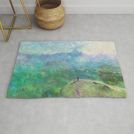 Legend of Zelda Breath of the Wild Intro Impressionist Painting Rug