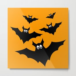 Cool cute Black Flying bats Halloween Metal Print