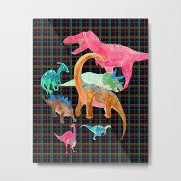 Retro Neon Dino Plaid Metal Print