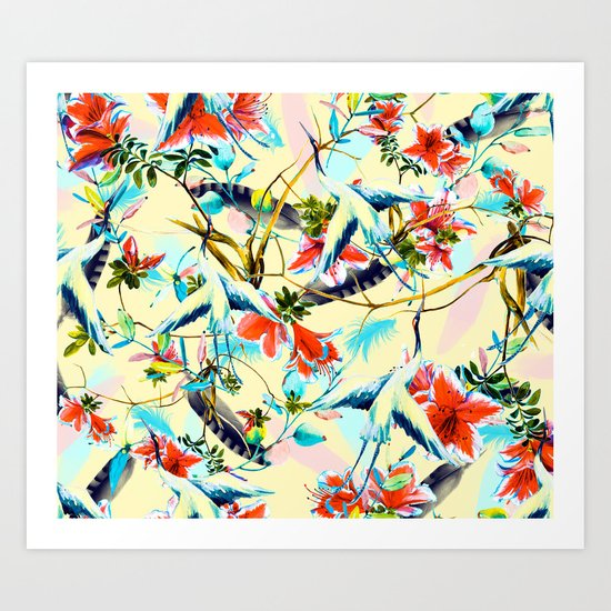 Birds And Flowers I Art Print By Mmartabc Society6