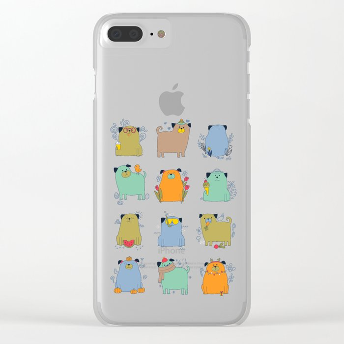 Seasonal pugs. Funny dogs. Clear iPhone Case