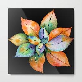 Colorful Succulent Watercolor In Elegant Bright Pastels Metal Print