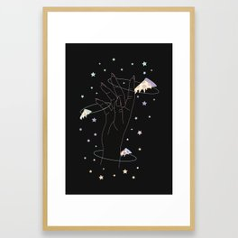 Lost One - Space Pizza Illustration Framed Art Print