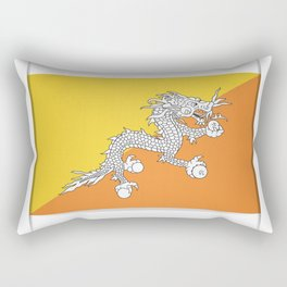 Flag of Bhutan.  The slit in the paper with shadows. Rectangular Pillow
