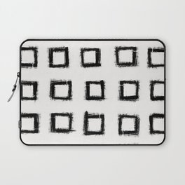 Square Stroke Dots Black and White Laptop Sleeve