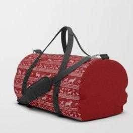 Ugly christmas sweater | German shepherd red Duffle Bag
