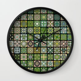 Vintage Quilted Pattern Wallpaper Wall Clock