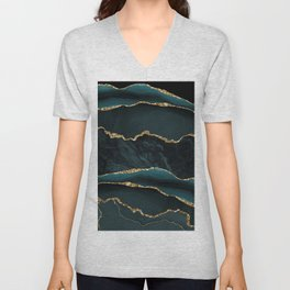 Teal And Gold Marble Waves Unisex V-Neck