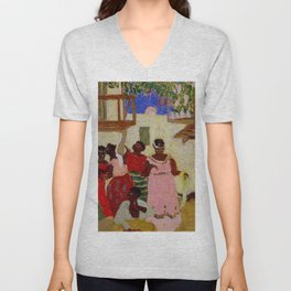 African American Masterpiece 'The Homecoming' by Pedro Figari Salari Unisex V-Neck