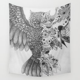 Steampunk Owl Wall Tapestry
