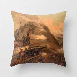 Civil War Capture of Fort Fisher by J.O. Davidson Throw Pillow