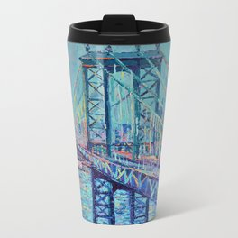 Manhattan Bridge - Palette Knife Urban City Landscape bu Adriana Dziuba Metal Travel Mug