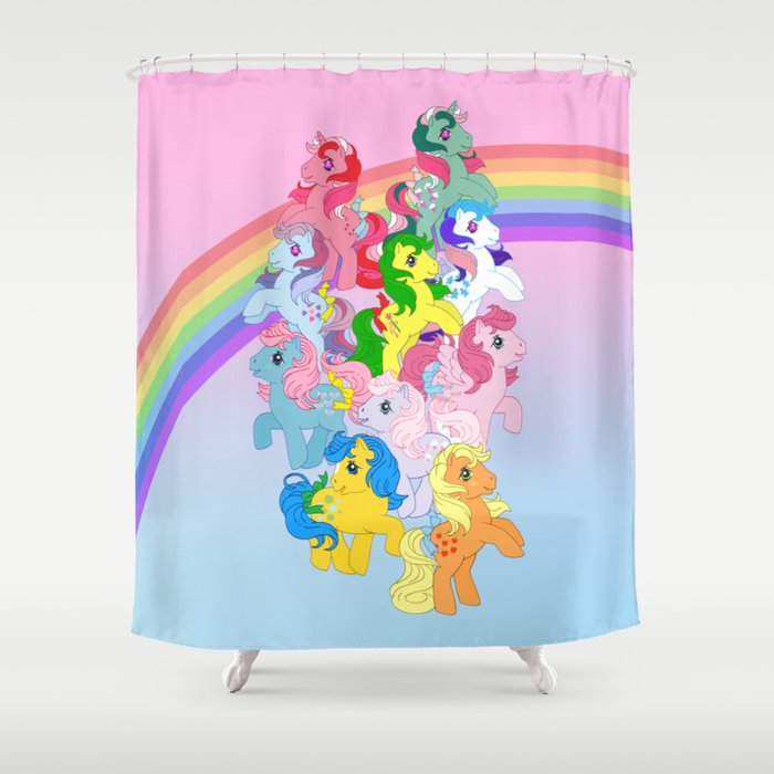 Retro G1 My Little Pony Shower Curtain