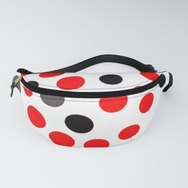 red grey black dots on white background pattern Fanny Pack