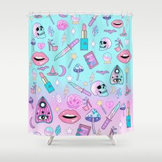 Girly Pastel Goth Witch Pattern Shower Curtain
