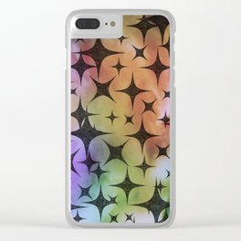 Black Star Lights in Abstract Batik Clear iPhone Case