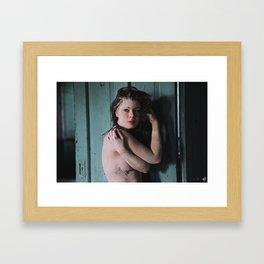 White clay, blue door Framed Art Print