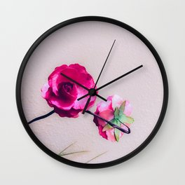 closeup blooming pink flowers with white wall background Wall Clock