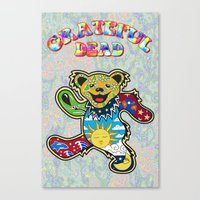 grateful dead Canvas Prints featuring Grateful Dead (Vector Art) by Troy Arthur Graphics