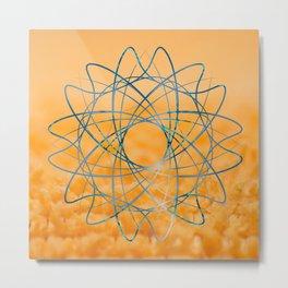 Blue abstract shape in orange bakcground Metal Print