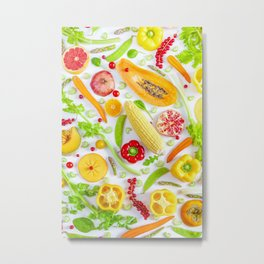 Fruits and vegetables pattern (12) Metal Print