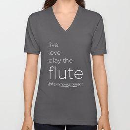 Live, love, play the flute (dark colors) Unisex V-Neck