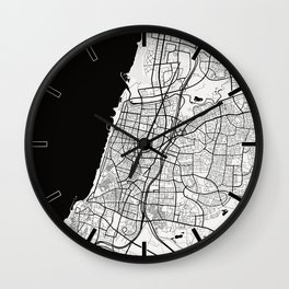 Tel Aviv City Map of Israel - Black Circle Wall Clock