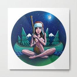 Canoe Girl Metal Print