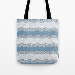 Wavy River VI in blue and grays Tote Bag
