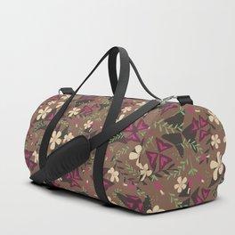 Purple Shamrock Floral Layered Pattern / Brown Duffle Bag