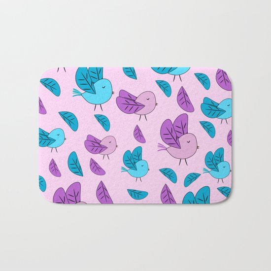 Birds in blue and pink Bath Mat