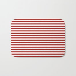 Red & White Maritime Small Stripes- Mix & Match with Simplicity of Life Bath Mat