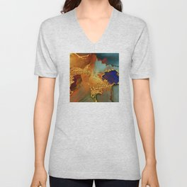 Abstract Gold and Blue Hues Glitter Paint Texture Unisex V-Neck