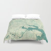 baltimore Duvet Covers featuring Baltimore Map Blue Vintage by City Art Posters
