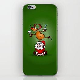 Reindeer is having a drink on Santa Claus iPhone Skin