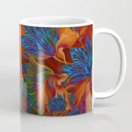 """Blue flowers on orange silk"" (Air Spring at night) Coffee Mug"