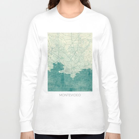 Montevideo Map Blue Vintage Long Sleeve T-shirt