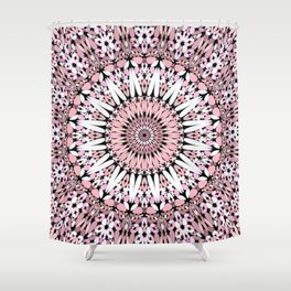 Pink Floral Gravel Mandala Shower Curtain