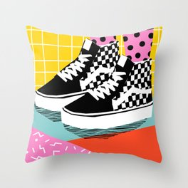 Steezy - retro shoes art print, memphis art print, skater, skateboarding, sneakers, old skool Throw Pillow