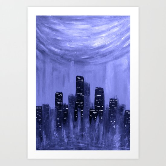 City of Fire ~ Blue  Art Print