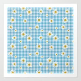 Daisies On Blue Gingham Art Print