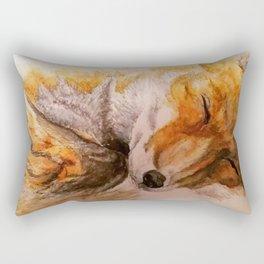 Watercolor Sleeping Fox Rectangular Pillow