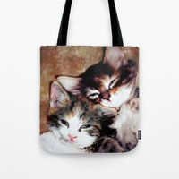best friends Tote Bags featuring best friends by Lydia Cheval
