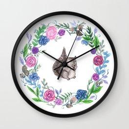 Squirrel and Wreath Watercolor Wall Clock