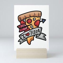 Pizza Italy kitchen baking salami cheese gift Mini Art Print