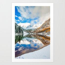 Maroon Bells Colorado Mountain Landscape Art Print