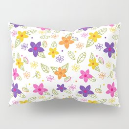 Colorful Hand Drawn Spring Flowers Pattern Pillow Sham