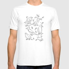 Singing Birds White Mens Fitted Tee MEDIUM