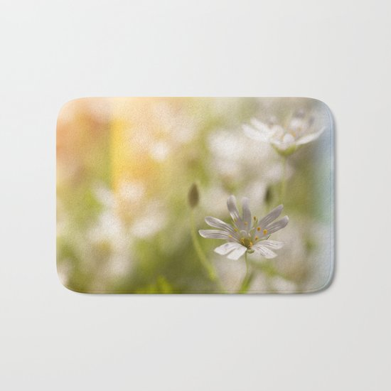 White tender Spring Flowers and blossoms on #Society6 Bath Mat