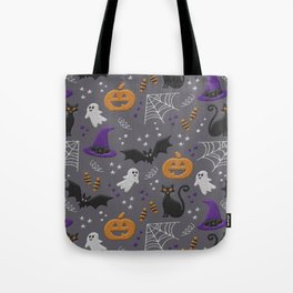 Halloween party symbols grey embroidery print Tote Bag
